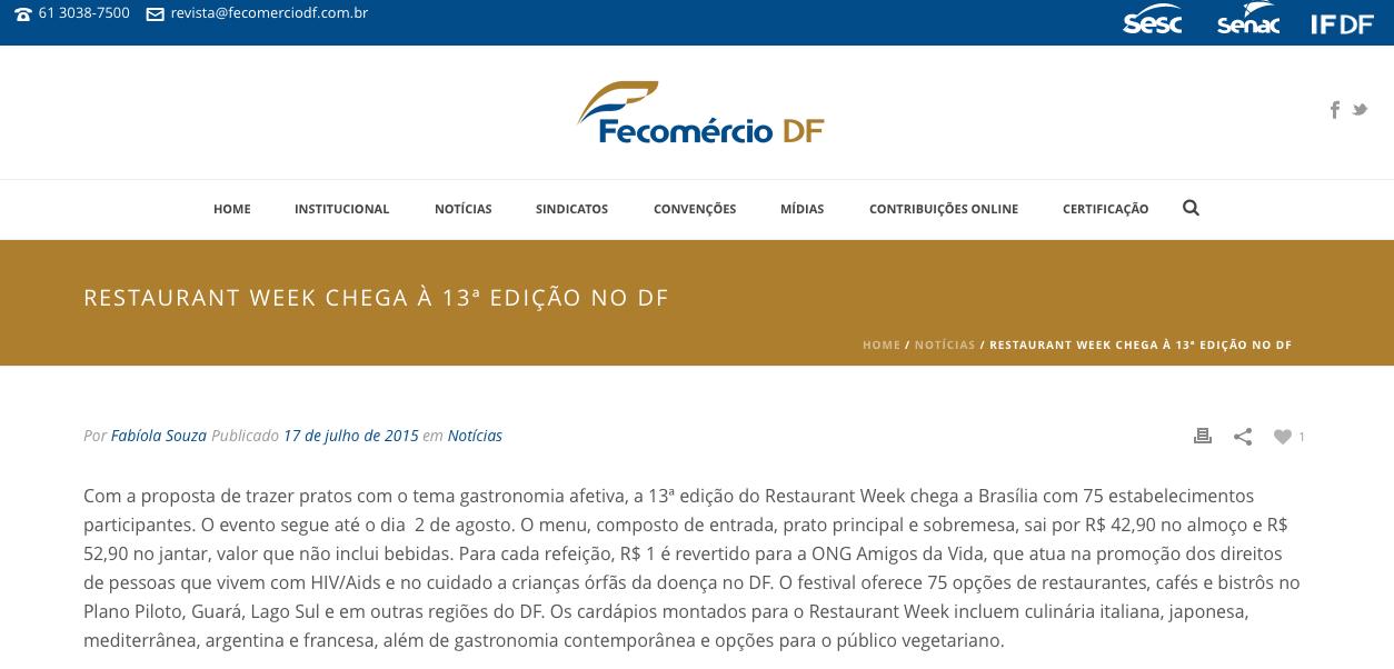 RESTAURANT WEEK CHEGA À 13ª EDIÇÃO NO DF