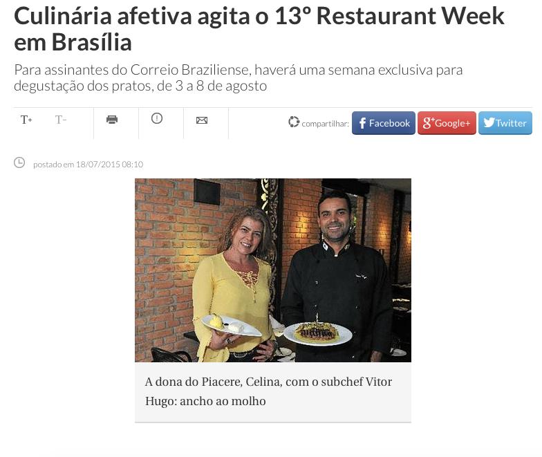 Culinária afetiva agita o 13º Restaurant Week em Brasília