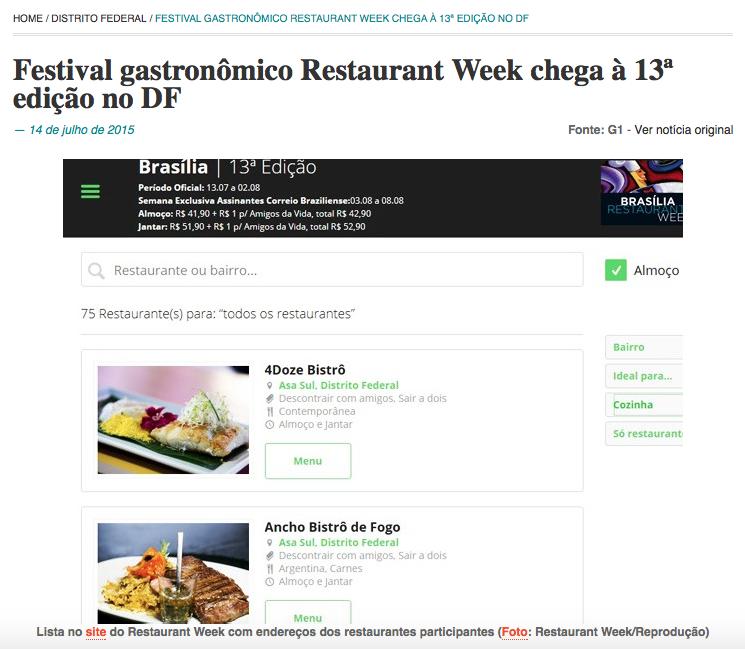 Festival gastronômico Restaurant Week chega à 13ª edição no DF
